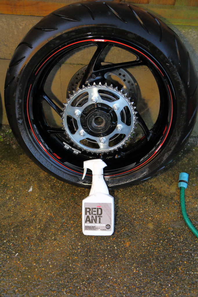 Red Ant power cleaner on GSX-S1000 wheels